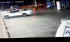 Drunk driver hits three parked vehicles while trying to leave Thailand petrol station