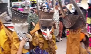 Locals wear ghost masks at spirit worship festival in Thailand