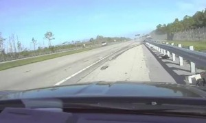 Dashcam captures scary moment when truck slams into patrol car