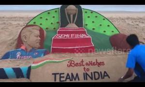 Tribute in sand for Virat Kohli as India take on New Zealand in Cricket World Cup semi-final