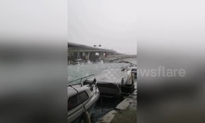 German tourist captures golf ball sized hail battering Italian city