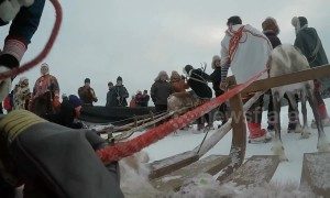 This race in Sweden sees competitors lie down on sleighs dragged by reindeer