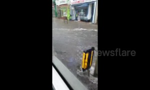 UK bus passenger films drive through flooded road in Sunderland