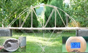 DIY mini bamboo bridge tested to see how much weight it can hold