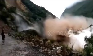 Colossal landslide sends huge waves crashing through reservoir in China's Leshan