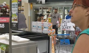 Anti Dairy Demonstration at Grocery Store