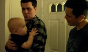 Baby gets confused by dad and his identical twin