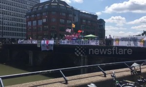 Climate activists form blockade in central Bristol as part of coordinated national protest