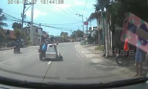 Motorcyclist in Thailand somehow drops gas canister but swiftly shuts it off before explosion