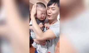 Chinese babies react dramatically after being tricked by parents