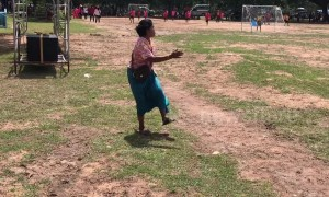 Hilarious moment supportive grandmother gets carried away watching kids' football match in Thailand