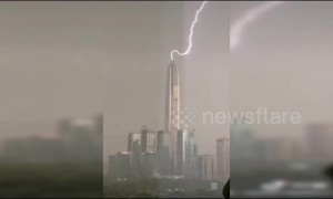 Huge lightning bolt strikes the tallest building in China's Shenzhen