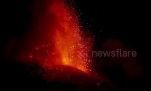 Italy's Mount Etna erupts