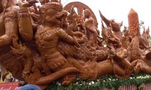 Beautiful giant wax sculptures mark Buddhist Lent in Thailand