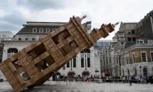 Huge cardboard tower toppled in the City of London