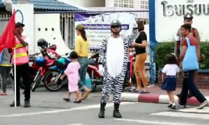 Kind-hearted policeman dresses as zebra to help children cross the road in Thailand