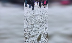 Footballers Continue Game Following Huge Hail Storm
