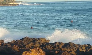 Wave Crushes Boy on Boogie Board