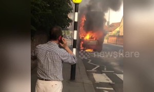 London bus in engulfed in flames in East Sheen
