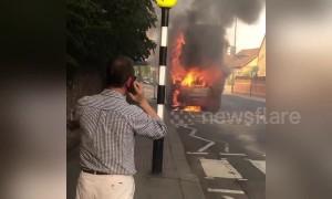 London bus in engulfed in flames in East Sheen