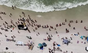 Human Chain Formed to Try to Save Swimmer