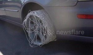 Watch what happens when US YouTuber replaces car tyre with 200 iPhone charger cables