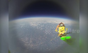 SpongeBob goes to space after GoPro attached to weather balloon is launched from US