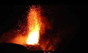 Stromboli Volcano Erupts at Night