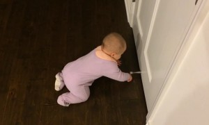 Baby is Mesmerized by Door Stop