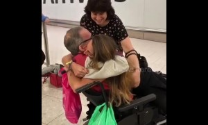 Emotional reunion at UK airport between girl and her chronically ill father