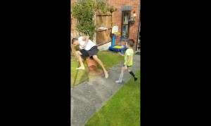 UK dad pranks son but ends toppling over and breaking potted plant