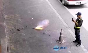 Terrifying moment power bank explodes inside passenger's bag at Thai airport
