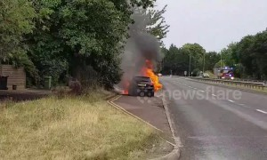 Car engulfed in flames amid UK summer heatwave