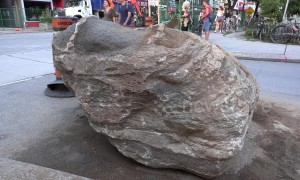 Over a billion-year-old granite rock unearthed in downtown Toronto during road construction