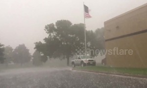 Storm drops hail in Blaine, Minnesota