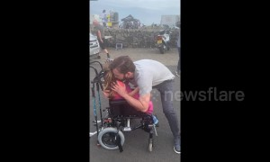A rising star! Four-year-old girl with cerebral palsy gets embraced by David Tennant on TV set