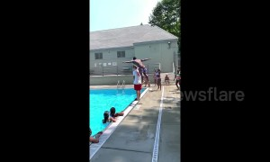 Incredible 5ft6 gymnast dives over 6ft1 lifeguard into New York swimming pool