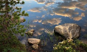 Beautiful cloud reflection time-lapse over lake