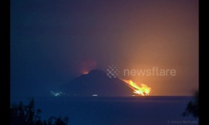 Time-lapse footage shows fire raging through Italian island of Stromboli after volcanic lava flows