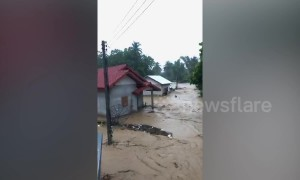 Torrential flooding hits Luang Prabang, Laos