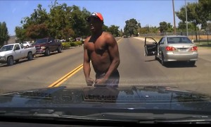 Car thief wisely changes his mind about attacking police officer
