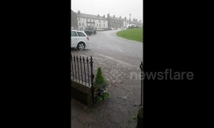 North Yorkshire sees rapid floodwater sweep across roads after heavy downpours