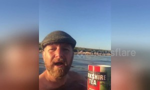 Yorkshireman skinny dips while drinking Yorkshire Tea