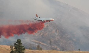 Spotter Plane Leads Firefighting Jet into Drop Zone