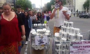 UK protestors sell Donald Trump patterned toilet paper in central London