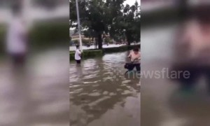Typhoon Wipha brings strong rainstorms and floods to southern China's Haikou