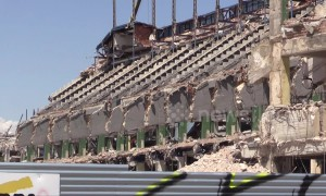 Atletico Madrid's former stadium's skeleton revealed after demolition works continue