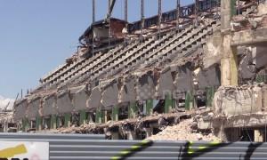 Atletico Madrid's former stadium's skeleton revealed after demolition works continue