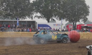 Intense car football in Belgium sees spectacular bumps and crashes