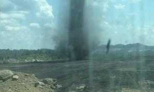 Dust Devil Creeps Across Coal Mine